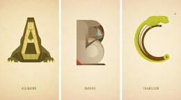 英文字母插画象形变身动物:Marcus Reed动物字体设计