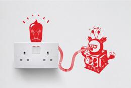 5个国外创意插座墙贴图案设计欣赏