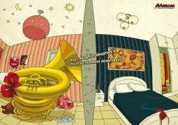 手绘创作作品:一组幽默的乐器广告欣赏