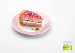 喉痛药广告欣赏:喉咙疼时,再好吃的食物也如同玻璃渣。