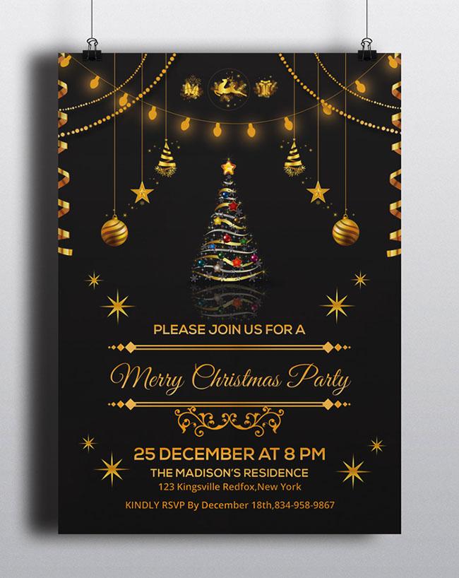 1组精美的圣诞舞会传单设计与海报设计案例欣赏