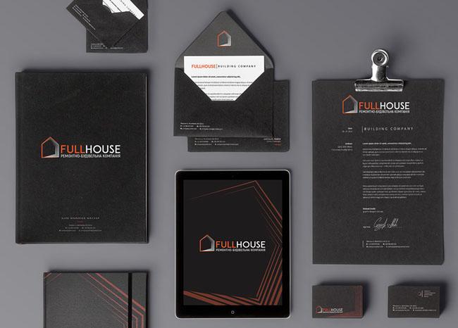 黑色简约时尚的建筑公司VI设计作品案例欣赏