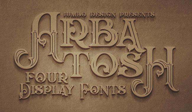 复古装饰风格的Arbatosh字体设计