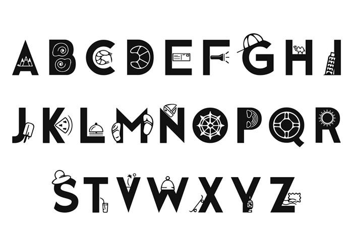 时髦的旅行图案主题英文字体设计