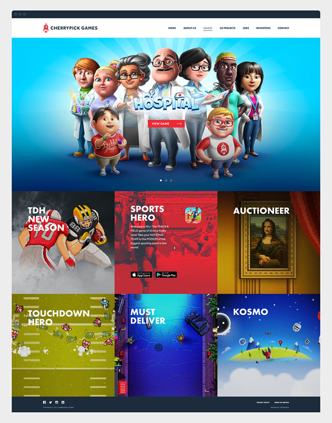 Cherrypick Games游戏网站设计作品
