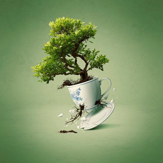Green Tea茶品牌数码合成设计欣赏