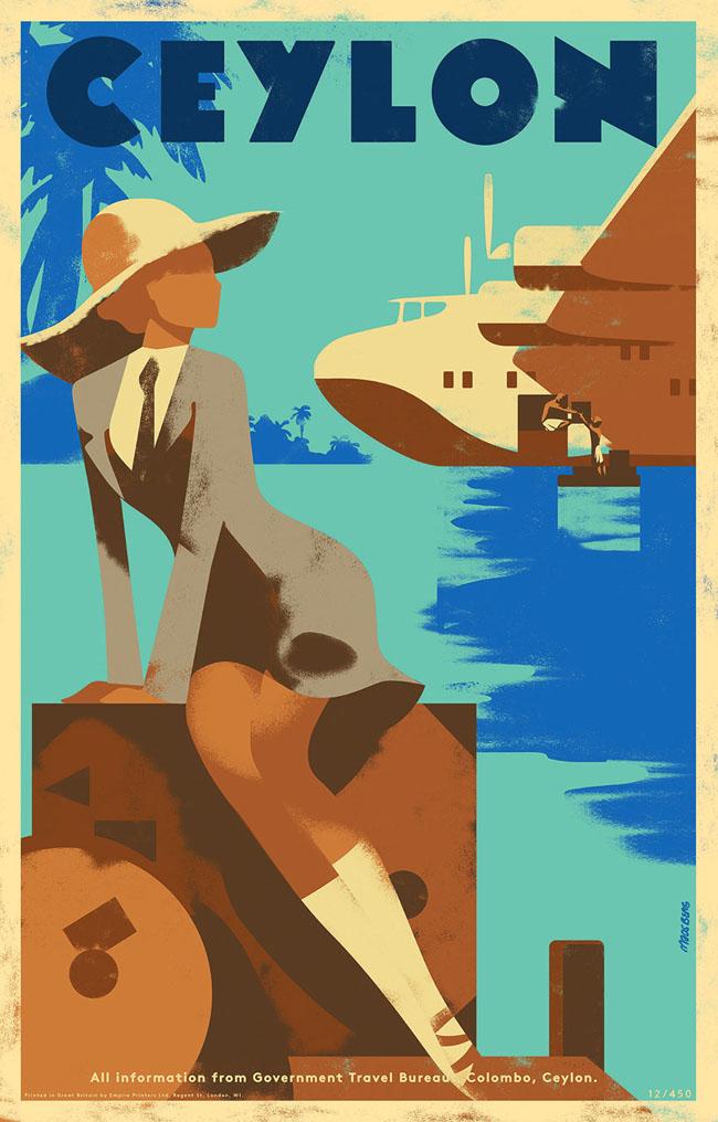 一组国外旅游主题插图海报设计作品