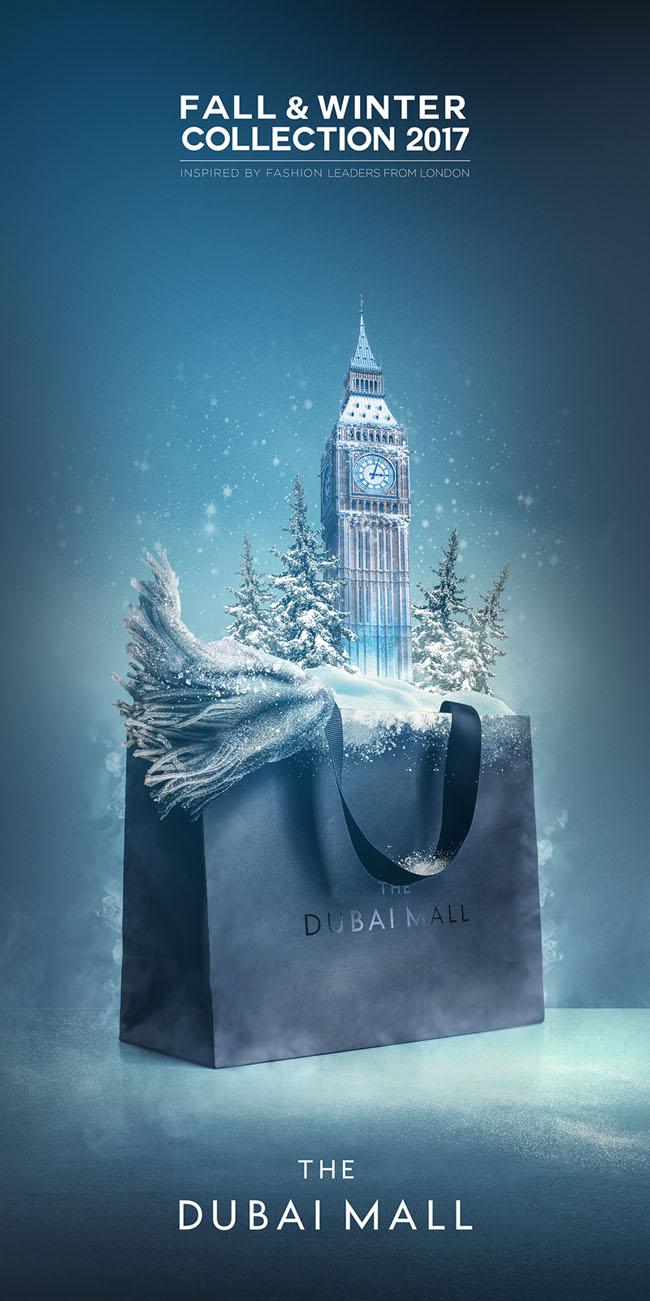 Dubai Mall购物中心冬季宣传广告设计作品