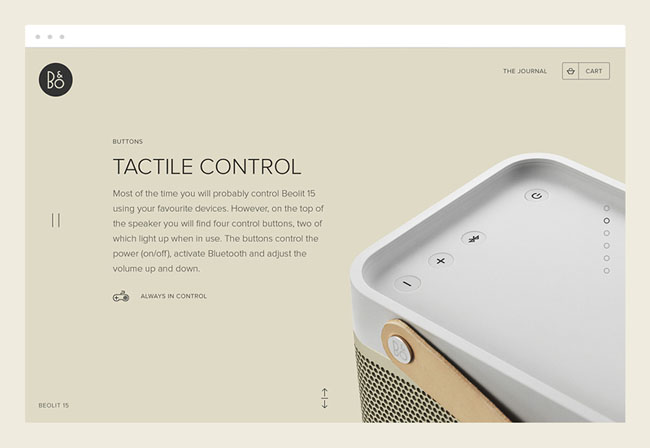 B&O Play扬声器与耳机品牌网页设计作品