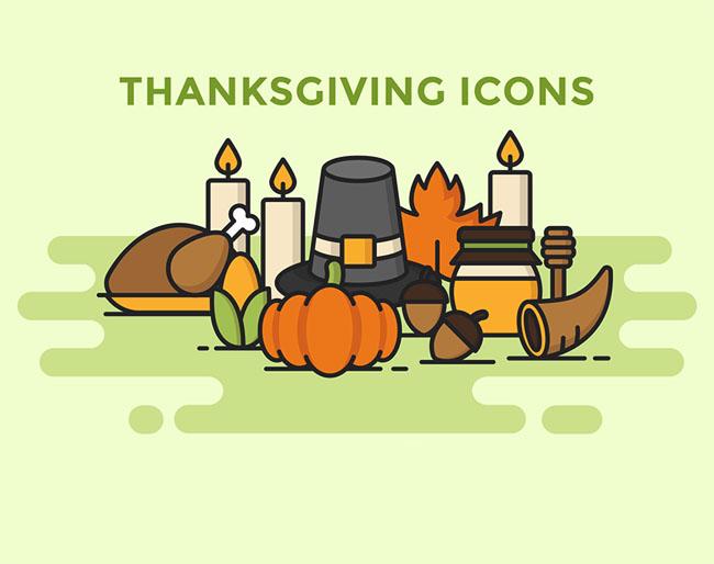 简洁美观的感恩节图标设计作品