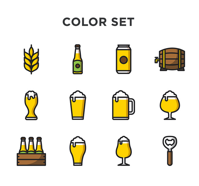 简约大方的啤酒主题图标设计
