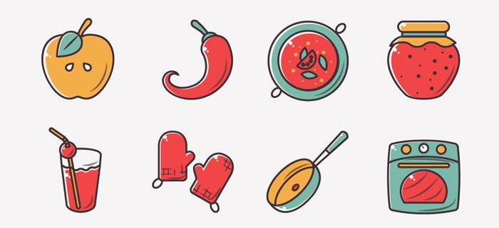一组简洁美观的食物图标设计作品