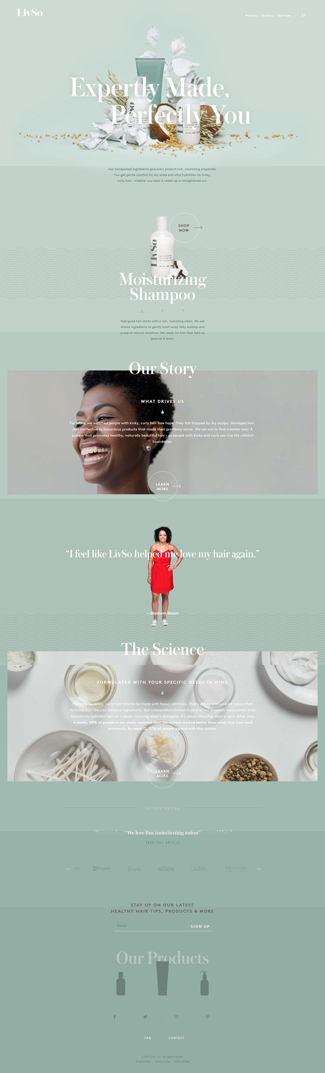 国外LivSo护肤化妆品网站设计