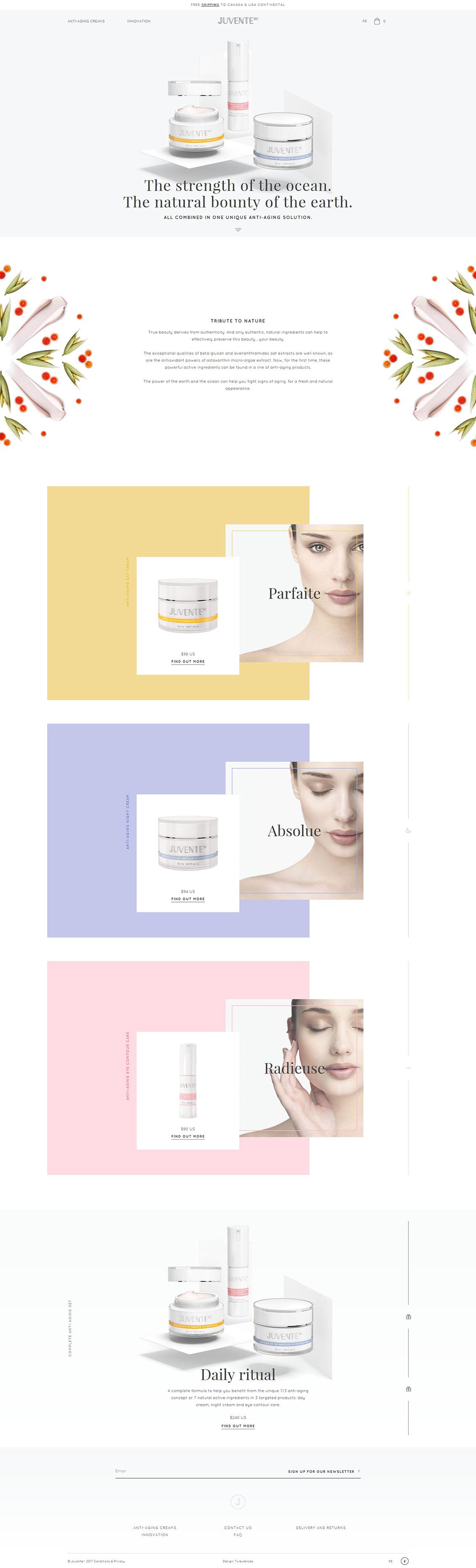 国外JUVENTEDC天然抗衰老面霜化妆品网站设计