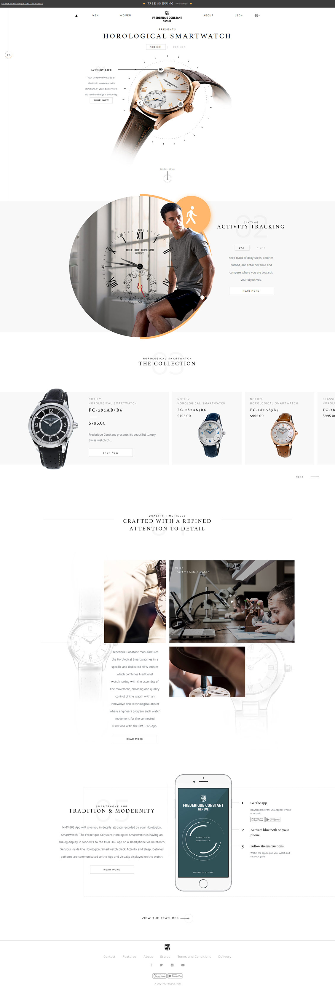 国外Frederique Constant手表网站设计