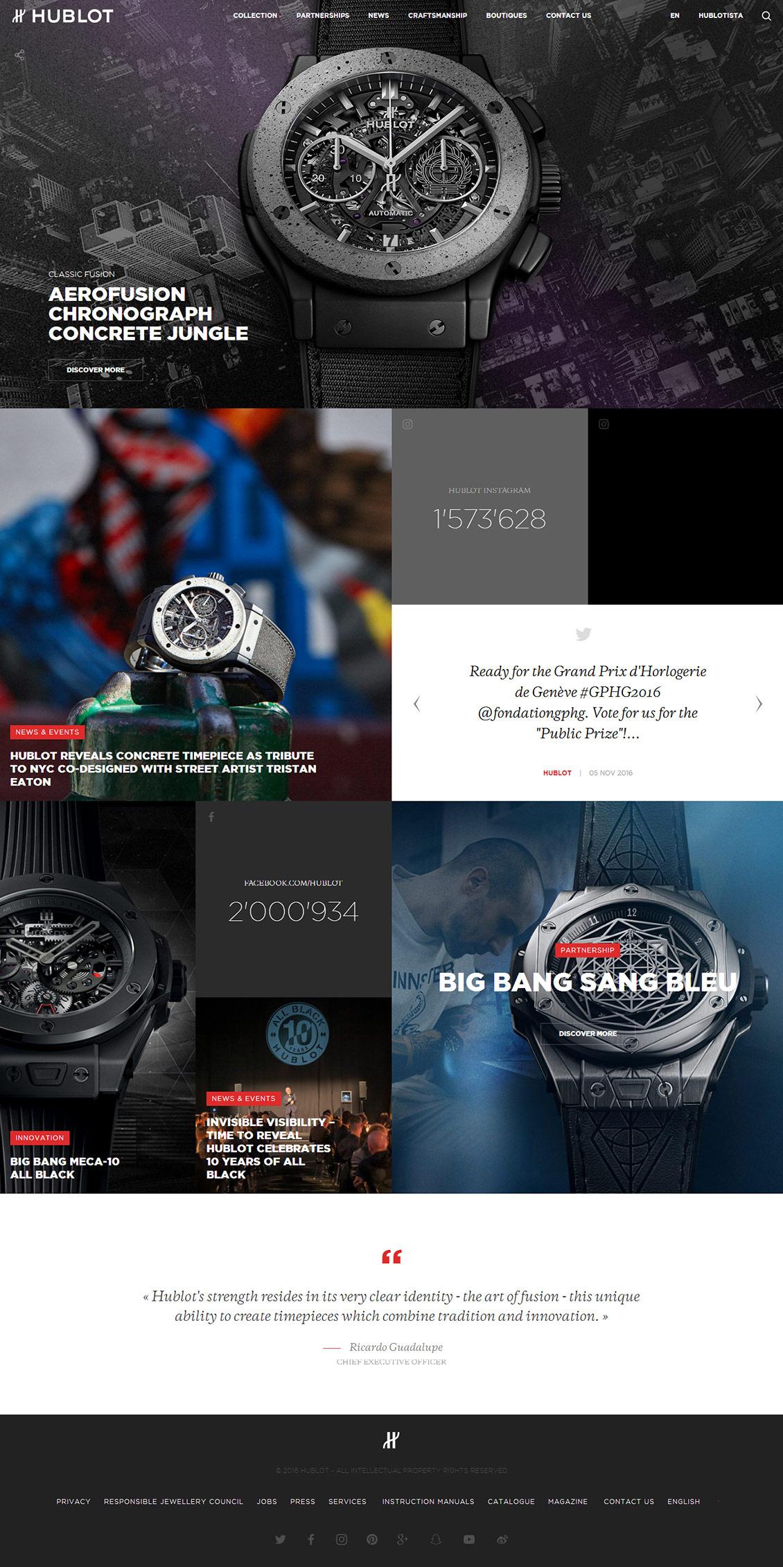 国外hublot宇舶手表网站设计欣赏