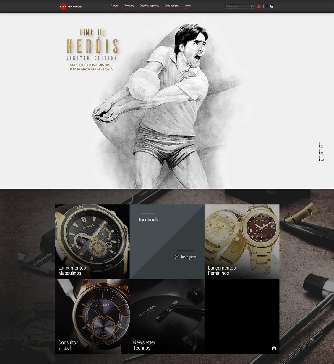 国外TECHNOS天克诺腕表网站设计