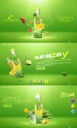 绿色全屏果汁饮料网页设计