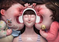 国外JBL降噪耳机系列平面创意广告设计欣赏