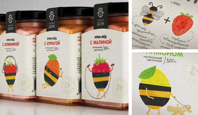 国外漂亮的水果味蜂蜜包装设计作品欣赏