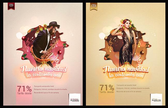 分享一组国外漂亮的酒店圣诞节海报设计欣赏