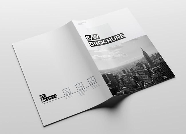 国外干净的Brochure黑白企业画册模板设计