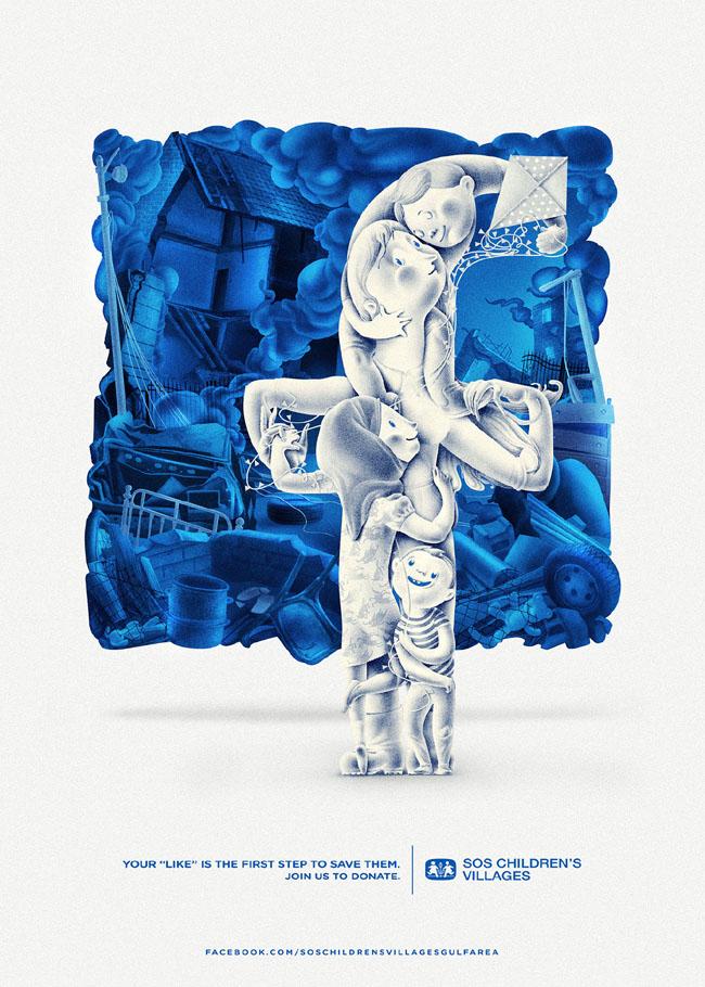 国外关心世界各地孤儿组织脸书筹款宣传公益广告设计欣赏