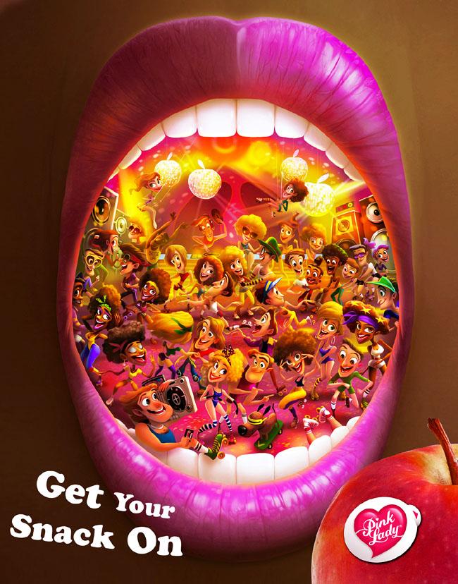 国外专注女性的Pink Lady水果品牌插画海报设计作品