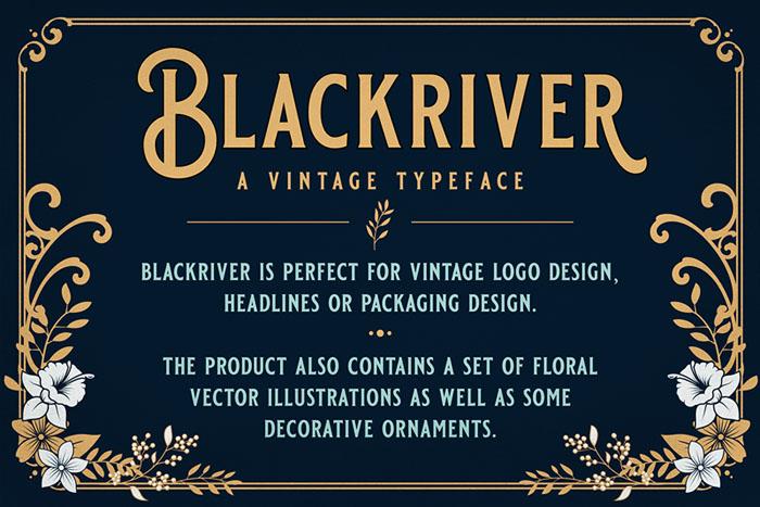 国外优美的Blackriver花纹装饰字体设计欣赏