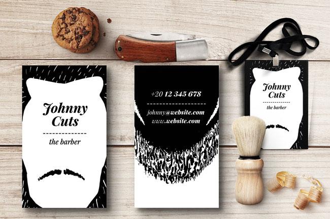 国外黑白系的创意理发师名片设计作品案例欣赏
