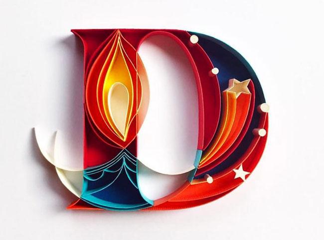 设计师Sabeena Karnik精美的纸艺手工艺术字体设计欣赏