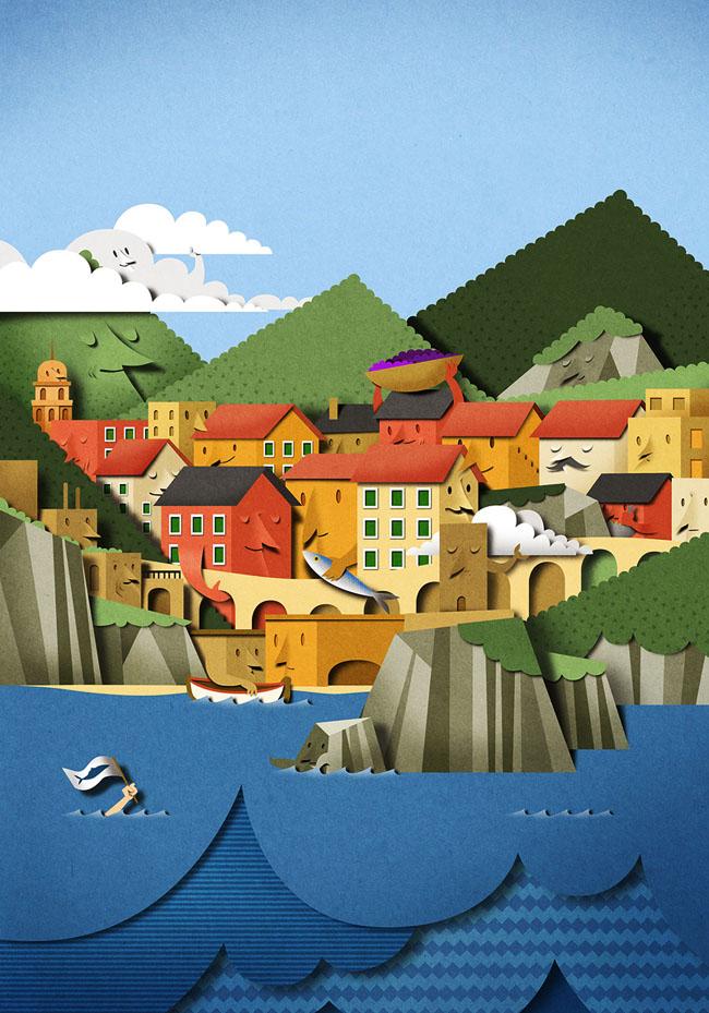 国外Cinque Terre手工层次感的限量版海报设计欣赏