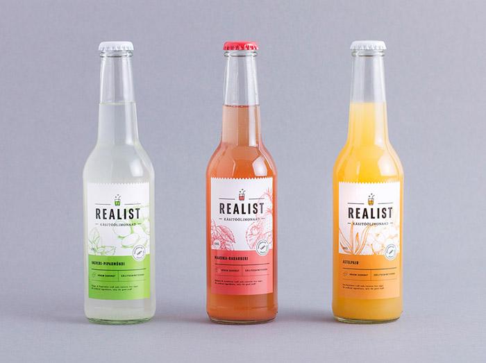 小清新版的Realist饮料瓶贴设计作品欣赏