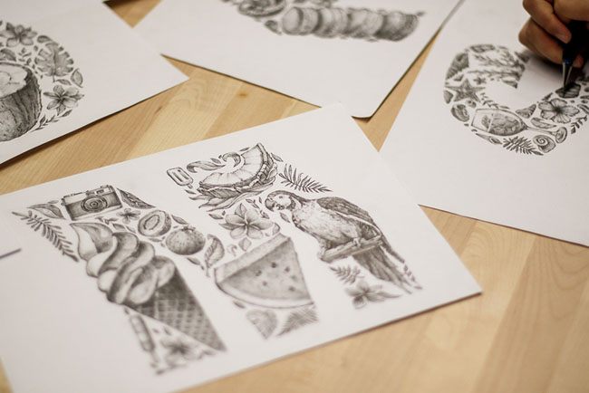 法国设计师Saemi Kang漂亮的手绘字母设计