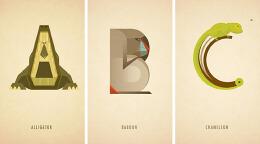 字体设字之MarcusReed26个英文字母创意动物字母设计