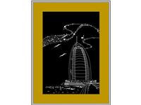 中东迪拜风景玻璃画设计